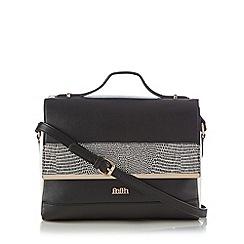 Faith - Black reptile trim satchel bag