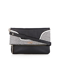 Faith - Black reptile trim flap over clutch bag