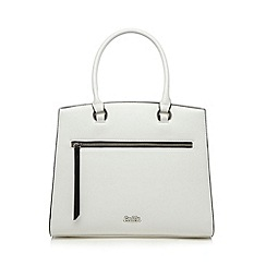 Faith - White zip front boxy tote bag