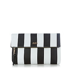 Faith - Black striped fold over clutch bag