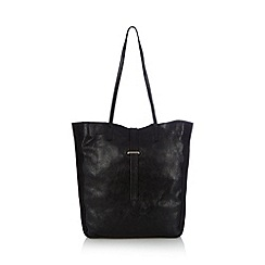 Faith - Black cracked leather unlined shopper bag