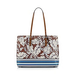 Fiorelli - Tan leaf print three part large tote bag