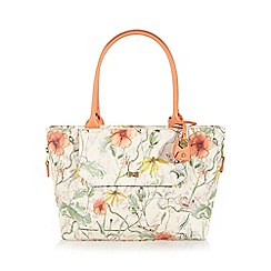 Nica - White painted floral large tote bag