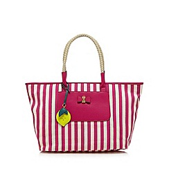 Nica - Pink striped bow front large tote bag