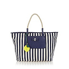 Nica - Navy striped bow front large tote bag