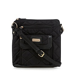 Kangol - Black quilted fabric and PU cross body bag