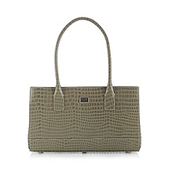 Osprey London - Pale grey leather three compartment mock croc grab bag
