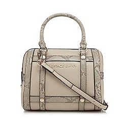 Versace Jeans - Natural snakeskin trim tote bag