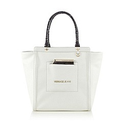 Versace Jeans - White mock snake tote bag