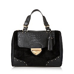 Lipsy - Black croc faux pony hair barrel bag