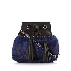 Lipsy - Navy faux fur drawstring cross body bag