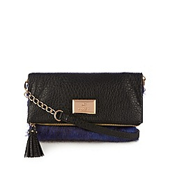 Lipsy - Navy faux fur fold over clutch bag