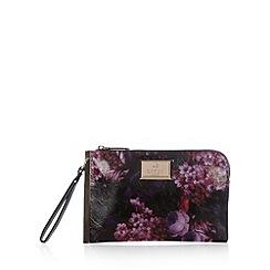 Lipsy - Black floral side bar clutch bag