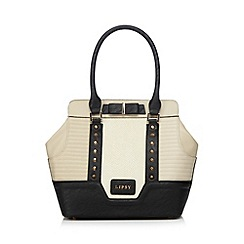Lipsy - Cream textured animal print studded tote bag