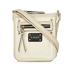 Lipsy - Cream textured animal print studded cross body bag