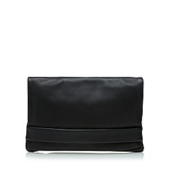 Clarks - Black leather popper clutch bag