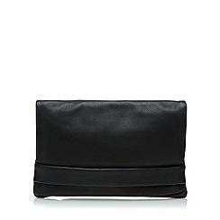 Clarks - Black leather popper clutch bag