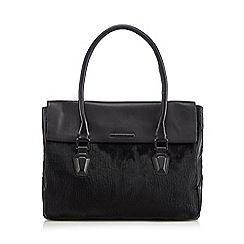 Todd Lynn/EDITION - Designer black leather pony hair panel shoulder bag