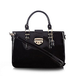 Clarks - Black 'Miss Chantal' patent three compartment grab bag