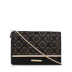 Black floral cutout clutch bag