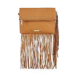 Tan studded fringe fold over clutch bag