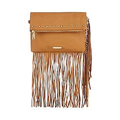 LYDC - Tan studded fringe fold over clutch bag