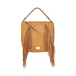 LYDC - Tan studded fringe shoulder bag