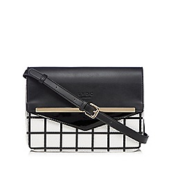 LYDC - Black patent monochrome grid cross body bag