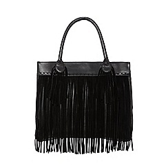 Nine by Savannah Miller - Black 'Sophie' suede fringed tote