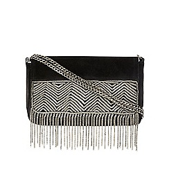Nine by Savannah Miller - Black 'Billy' suede cross body bag with chain detail