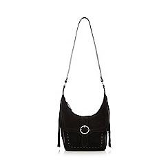 Nine by Savannah Miller - Black 'Dree' suede shoulder bag with fringe detail