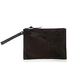 Faith - Black leather pony hair clutch bag