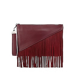 Faith - Black asymmetric fringed clutch bag