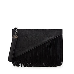 Faith - Black asymmetric fringe clutch bag