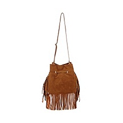 Faith - Tan fringed suede duffle bag