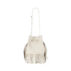 Faith - Natural fringed suede duffle bag