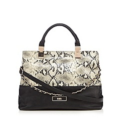Faith - Black mock snake chain detail tote bag