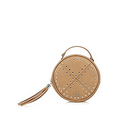 Faith - Light tan studded round cross body bag
