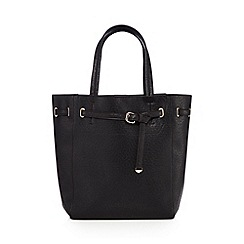 Faith - Black textured front belt winged tote bag