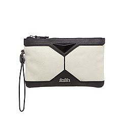 Faith - Pale grey pyramid clutch bag