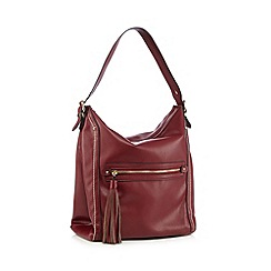 Faith - Dark red tassel zip shoulder bag