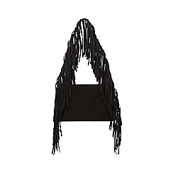 Faith - Black leather fringed shoulder bag