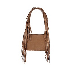 Faith - Tan leather fringed shoulder bag