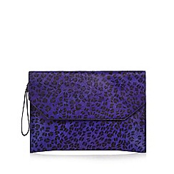Faith - Purple leather animal print pony clutch bag
