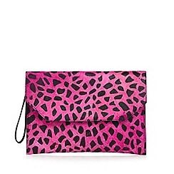 Faith - Bright pink leather animal print pony clutch bag