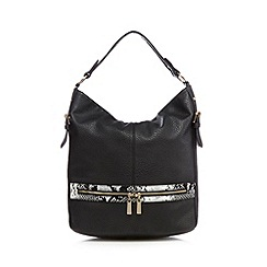 Faith - Black textured snake trim zip detail shoulder bag