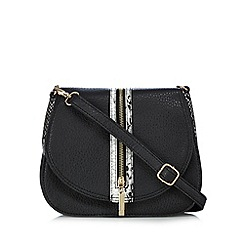 Faith - Black snakeskin-effect trim zip detail saddle bag