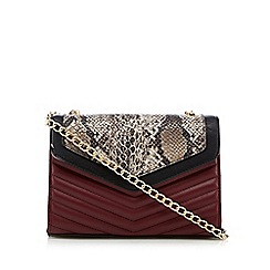 Faith - Dark red snakeskin-effect quilted shoulder bag