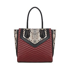 Faith - Dark red snakeskin-effect quilted tote bag