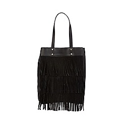 Faith - Black suede layered fringed tote bag